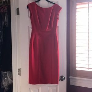 Red Anthropologie dress.